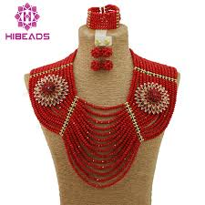 wedding necklace set red images African wedding beads jewelry set red crystal indian bridal jpg
