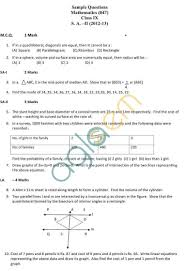 cbse sample papers for class 9 sa2 u2013 mathematics aglasem schools
