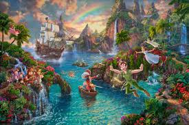 disney peter pan u0027s land thomas kinkade company