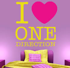 i love one direction wall stickers decals sunflower and magenta i love one direction wall decal on a girl s bedroom