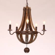 rustic wine barrel stave reclaimed u0026 rust metal chandelier