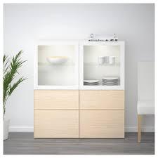Ikea Besta Glass Doors by Bestå Storage Combination W Glass Doors White Inviken Ash Veneer