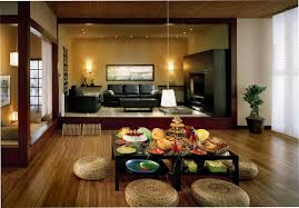 stylish asian living room with leather sofa also cute table plus