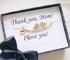mothers day necklaces personalized mothers day gift thank you card birds initial necklace