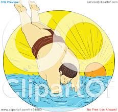 clipart graphic of a drawing sketch styled sumo wrestler diving