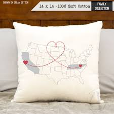 Map Bedding Connected Hearts Across The America Personalized Map Print