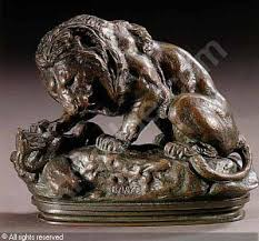 barye lion sculpture lion au serpent a lion crushing a serpent sold by sotheby s