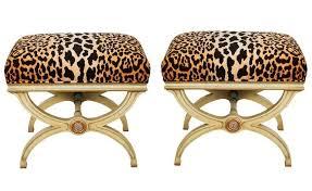 hollywood regency velvet leopard print curule benches pair