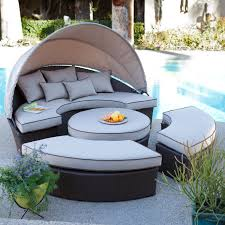 Patio Chair With Ottoman Set Outdoor U0026 Landscaping Fabulous Round Sectional Outdoor Daybed