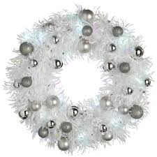 werchristmas 36 cm pre lit tinsel wreath with baubles led lights