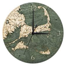 Ncc Map Cape Cod Ma Nautical Wood Wall Clock Wooden Map