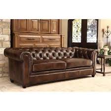 Brown Leather Sofa And Loveseat Leather Chesterfield Sofa Ebay