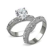 his hers 3 pcs wedding engagement ring set black men titanium