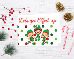 merry elfn christmas card funny holiday card christmas