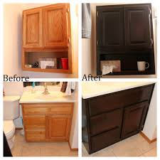 before and after gel staining oak bathroom cabinets over toilet