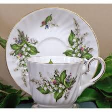 porcelaine bone china lily of the valley fine bone china cup and saucer set of 4