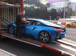 bmw supercar blue u spot bmw i8 in protonic blue arrives at javits center for new