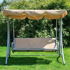 Swings For Patios With Canopy Aosom Outsunny Covered Outdoor Patio Swing Bench W Frame Sand