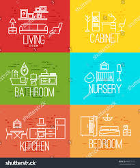 Living Color Nursery by Flat Rooms Furnishings Living Room Cabinet Stock Vector 446071153