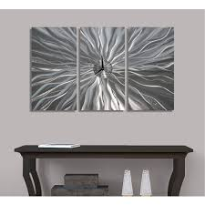 static age silver abstract metal art wall clock by jon allen