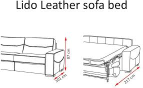 Leather Sofa Bed With Wooden Finishing In Its Arms - Sofa bed dimensions