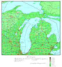 Wisconsin Counties Map by Michigan Elevation Map