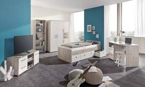 Schreibtisch 90 5 Tlg Jugendzimmer In Eiche Sand Dekor Weiß Kleiderschrank B