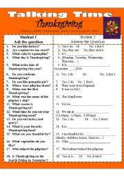 worksheet thanksgiving talking time