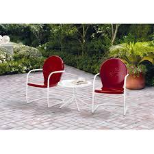 Retro Metal Patio Chairs Mainstays Retro C Spring 3 Piece Metal Outdoor Bistro Red Seats