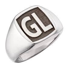 mens monogram ring sterling silver men s laser engraved square monogram signet ring