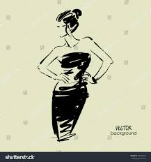 art sketch beautiful young model cocktail stock vector 595829498