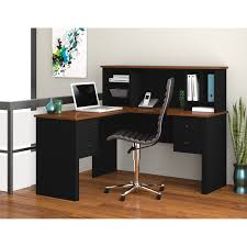 modern black desks small black l shaped desk with low hutch and hanging drawers of
