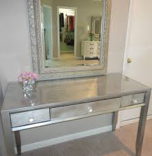 Glass Vanity Table With Mirror Silver Glass Diy Vanity Table With 3 Narrow Drawers And Framed