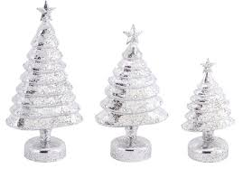 pack of 6 b o led lighted silver mercury glass trees