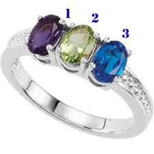 family birthstone rings oval birthstone mothers ring sterling silver 3 71476