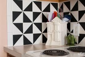 Black And White Tile Kitchen Backsplash by Diy Black And White Vinyl Backsplash The Gathered Home