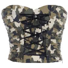army pattern crop top anna kaci s m fit green army camouflage print corset lace up 23