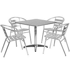 Square Aluminum IndoorOutdoor Table Set With  Slat Back - Outdoor aluminum furniture