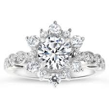 snowflake engagement ring vintage band snowflake engagement ring diamond setting moissanite