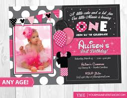 Editable 1st Birthday Invitation Card Minnie Mouse Birthday Invitations Marialonghi Com