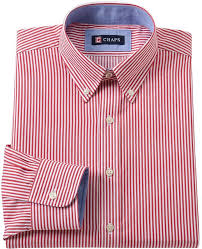 chaps classic fit striped wrinkle free button down collar dress