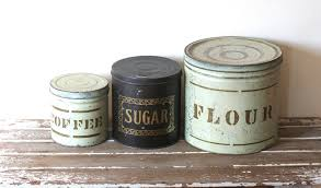 vintage rustic tin canisters flour coffee sugar shabby il