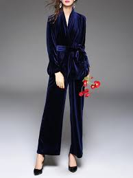 blue velvet jumpsuit blue plain velvet surplice neck jumpsuit stylewe com