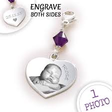 Engravable Sterling Silver Charms Photo Engraved Sterling Silver Heart Charm With Swarovski