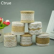burlap wedding decorations 2meter jute burlap rolls hessian ribbon with lace roll vintage