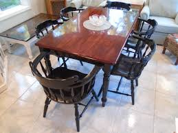 rustic farmhouse table brown stained top black painted legs 6