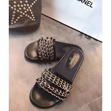 chanel woman slippers chain design slides slippers sandals
