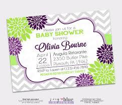 purple green floral baby shower invitation grey chevron dark