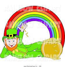 vector clip art of a happy leprechaun under a rainbow by pams