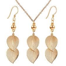 Leaf Pattern Necklace | promotion women shiny alloy gold color leaf pattern long earrings